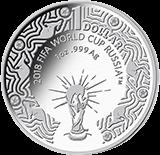 Австралия 1 доллар Чемпионат Мира по футболу в России 2018, серебро, реверс