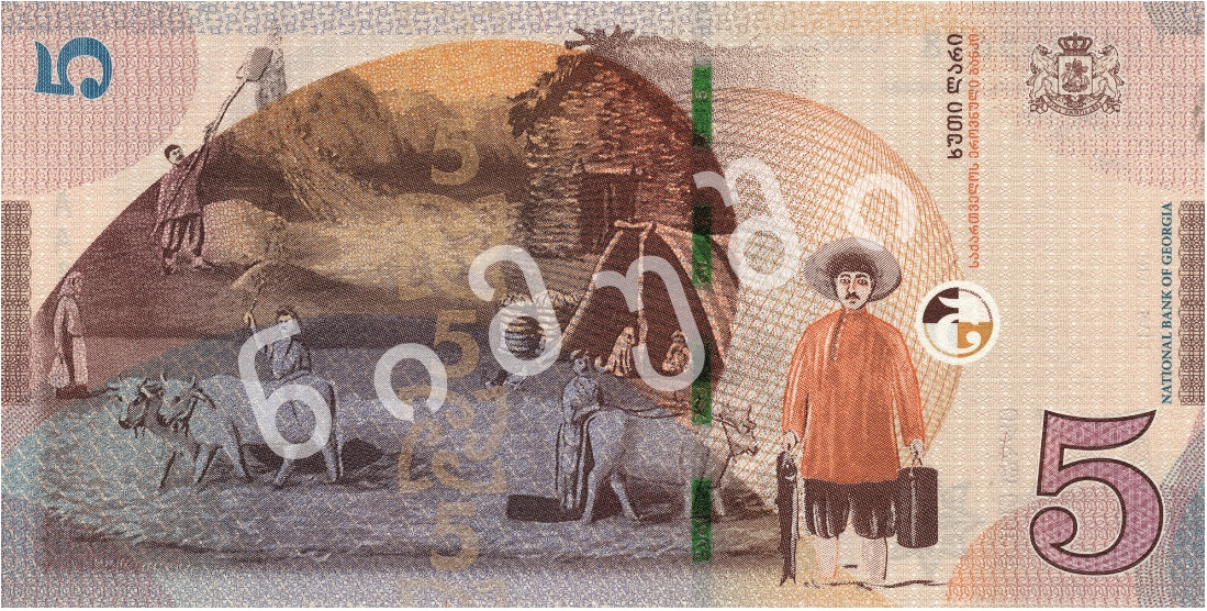 Грузия - банкнота 5 лари 2017 года, оборотная сторона