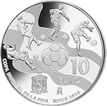Испания 10 евро Чемпионат Мира по футболу в России 2018, серебро, реверс