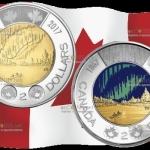 Канада монета 2 доллара Танец духов, монета которая светится
