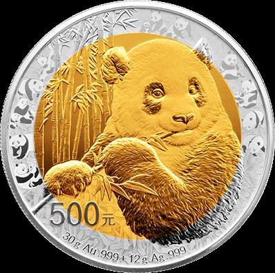 Китай монета 500 юаней Панда, золото и серебро, 2017 год, реверс