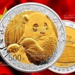 Китай монета 500 юаней Панда, золото + серебро, 2017 год