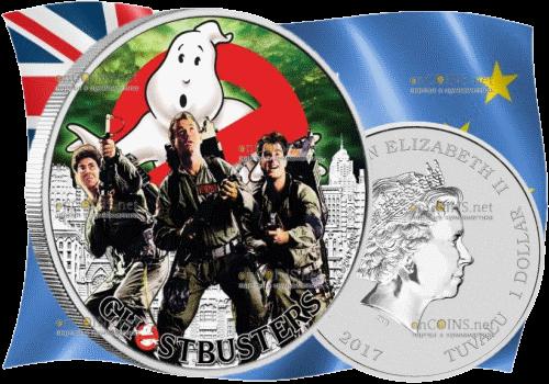Тувалу монета 1 доллар Охотники за привидениями