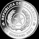 Парагвай монета 1 гуарани Чемпионат Мира по футболу в России 2018, серебро, аверс