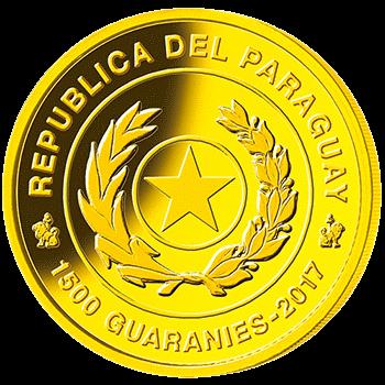 Парагвай монета 1500 гуарани Чемпионат Мира по футболу в России 2018, золото, аверс
