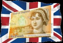 Англия банкнота 10 фунтов с Джейн Остин