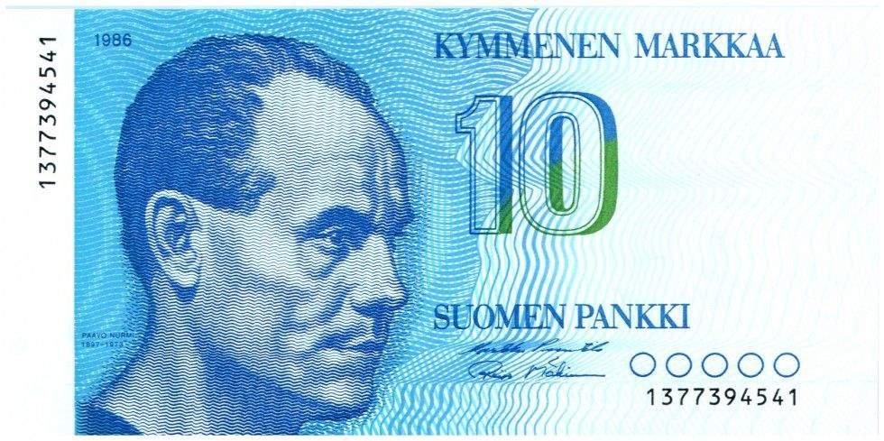 Финляндия, банкнота 10 марок, Пааво Нурми
