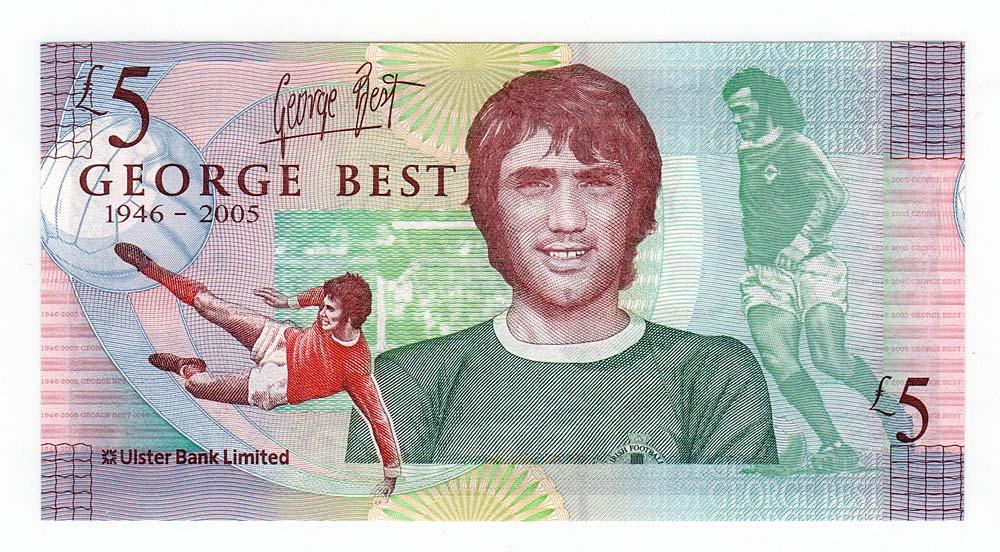 Ирландия, Джордж Бест, банкнота 5 фунтов, 2006 год