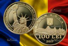 Монета 100 лей с фрагментом Статуи Свободы