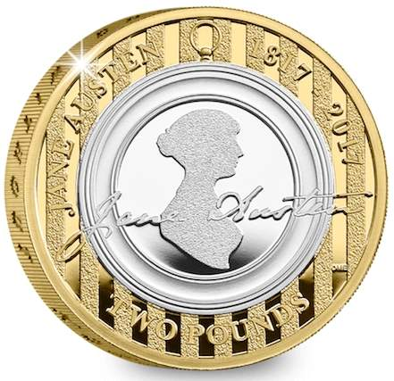 монета 2 фунта стерлингов Джейн Остин, реверс