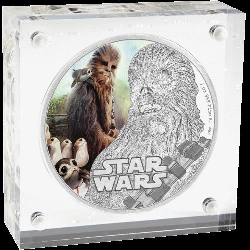 2 доллара серии Звездные войны - Последний джедай, Чубакка, подарочная упаковка
