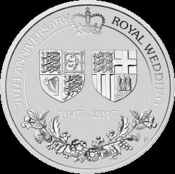 200 долларов 70 лет королевской свадьбы, платина, реверс