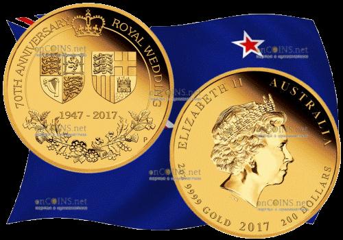 200 долларов 70 лет королевской свадьбы, золото