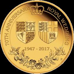 25 долларов 70 лет королевской свадьбы, золото, реверс