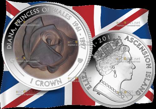 Англия монета - 20 лет со дня смерти принцессы Дианы, серебро