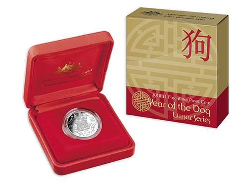 Австралия выпускает в обращение монету 1 доллар Год собаки, серебро, подарочная упаковка