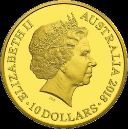 Австралия выпускает в обращение монету 10 долларов Год собаки, золото, аверс