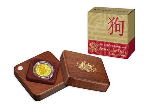 Австралия выпускает в обращение монету 10 долларов Год собаки, золото, подарочная упаковка