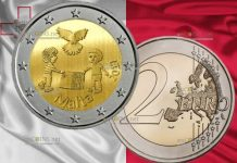 Мальта монета 2 евро Дети за мир