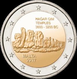 Мальта монета 2 евро храм Шаар-Ким в Кренди, реверс