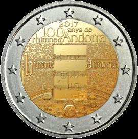 монета 2 евро 100 летие гимна Андорры, реверс
