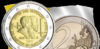 монета 2 евро 1950 лет со дня мученической смерти Святых Петра и Павла