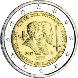 монета 2 евро 1950 лет со дня мученической смерти Святых Петра и Павла, реверс
