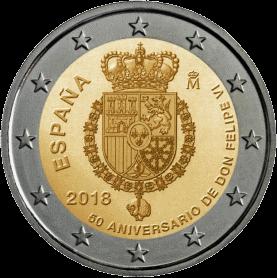 монета 2 евро 50-летие короля Филиппа VI, реверс