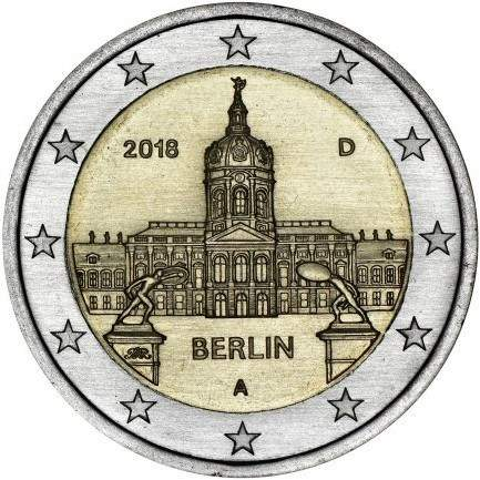 монета 2 евро дворец Шарлоттенбург в Берлине, реверс