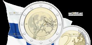 монета 2 евро Финская природа - ворон на дереве