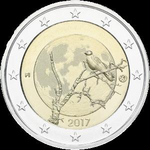 монета 2 евро Финская природа - ворон на дереве, реверс