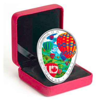 монета 20 долларов 150 лет Канады, подарочная упаковка