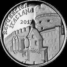 монета 5 евро город Тренто, аверс