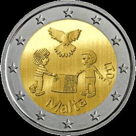 монету 2 евро Дети за мир, реверс