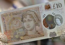 новая банкнота 10 фунтов с изображением известной английской писательницы Джейн Остин