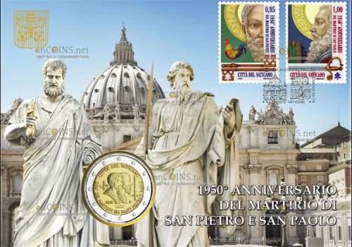 открытка - монета 2 евро 1950 лет со дня мученической смерти Святых Петра и Павла и две почтовые марки