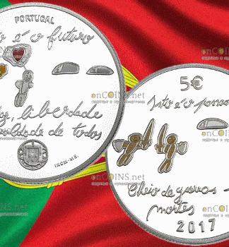 Португалия - серебряная монета 5 евро Будущее