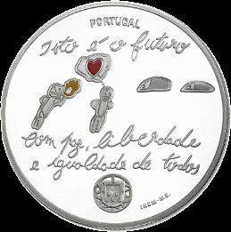 Португалия - серебряная монета 5 евро Будущее, реверс