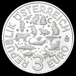 монета 3 евро Зимородок, аверс