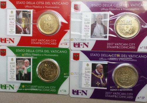 Ватикан, сувенирные наборы 2017 год (марка и монета) 14, 15, 16, 17 - лицевая сторона