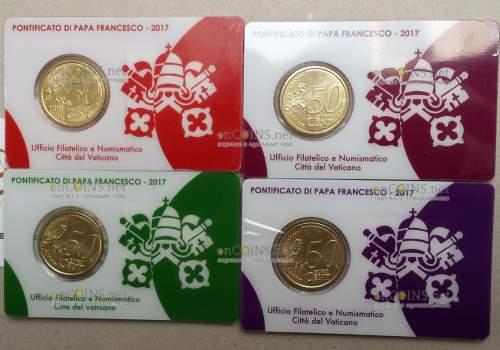 Ватикан, сувенирные наборы 2017 год (марка и монета) 14, 15, 16, 17 - оборотная сторона