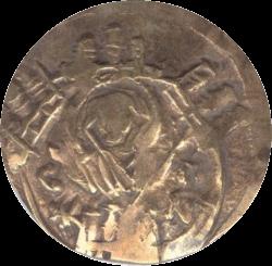 золотая монета найденная при раскопках крепости Русокастро, обортная сторона