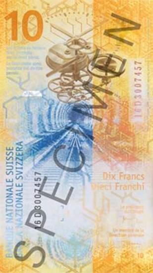 10 франков Швейцарии 2017 года, оборотная сторона