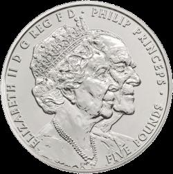 Англия 5 фунтов 70 лет бракосочетания королевы Елизавета II и принца Филиппа, медно-никель, аверс