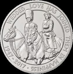 Англия 5 фунтов 70 лет бракосочетания королевы Елизавета II и принца Филиппа, медно-никель, реверс