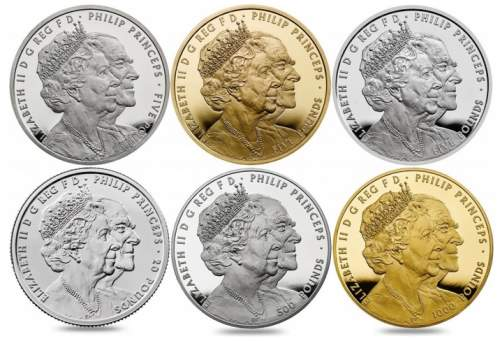 Англия инвестиционные монеты к 70-летию бракосочетания королевы Елизавета II и принца Филиппа, аверс