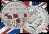 Англия монета 5 фунтов Конец войне
