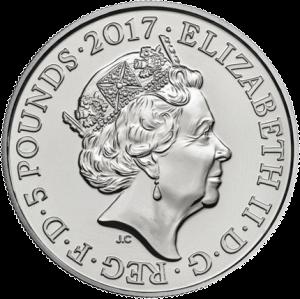 Англия монета 5 фунтов Конец войне, аверс