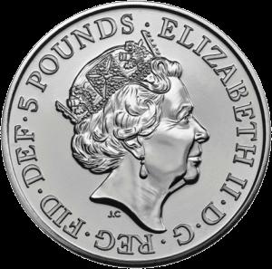 Англия монета 5 фунтов Рождественская елка, аверс