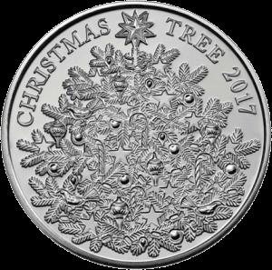 Англия монета 5 фунтов Рождественская елка, реверс